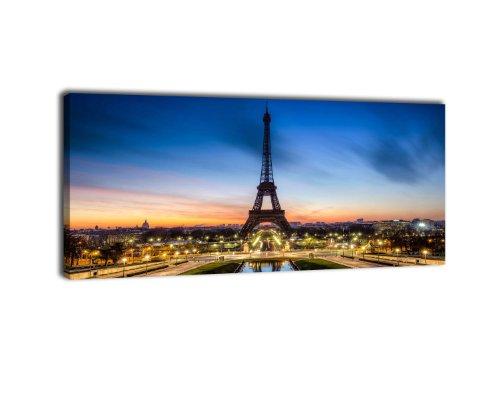 Leinwandbild Panorama Nr. 210 Eiffelturm 100x40cm, Keilrahmenbild, Bild auf Leinwand, Paris Frankreich Tour Eiffel