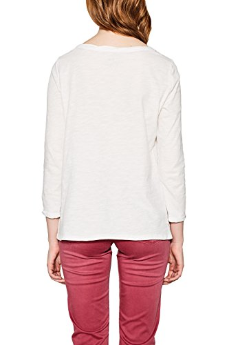 edc by ESPRIT Damen Langarmshirt Weiß (Off White 2 111)