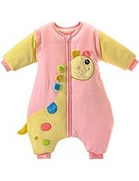 Schlummersack babySchläfsack Langarm Winter Kinder Schlafsack mit Füßen, Abnehmbare Ärmel,ganzjahres Baumwolle Junge Mädchen Unisex Overall Schlafanzug