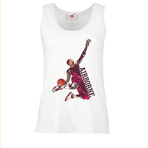 lepni.me Damen Tank-Top Sei der Herr der Schwerkraft, Basketball Freestyle Dunk - Ich Liebe Dieses Spiel (Large Weiß - Halloween Schiedsrichter-schuhe