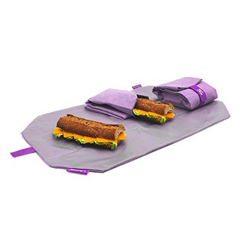 Roll'eat Boc'n'Roll-ECO Púrpura - Porta bocadillos reutilizable - funda bocadillos- bolsa desayuno- BPA Free width=