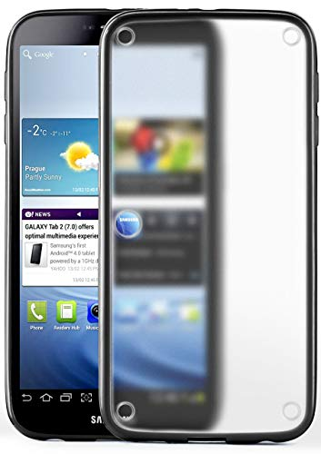 moex Samsung Galaxy Tab 2 7.0   Hülle Slim Transparent Schwarz Impact Back-Cover Dünn Schutzhülle Silikon Handy-Hülle für Samsung Galaxy Tab 2 7.0 Case TPU Tasche Matt (Samsung 2 Für Handy Case)
