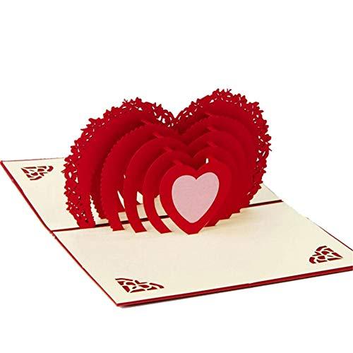 3D Herz Scherenschnitt Valentinstag Grußkarte Pop Up Karte 10 x 15cm Glückwunschkarten mit Umschlag Liebesbrief Einladung für Verabredung Hochzeit Party Wedding
