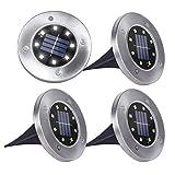SanGlory 4 Pezzi Luci Solari Giardino 8 LED Luce 100 LM, Faretti LED da Giardino Solari 600mAh Batteria Integrata Lampade da Esterno IP65 Impermeabile per Passaggio Aiuola Vialetto (Bianco Freddo)