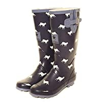 viz-uk wear Ladies Blue Sheep Print Matt Festival,Rain,Snow Wellies Slip On Wellington Boots Sizes 4 to 8