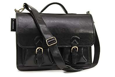 Ashwood Large Leather Briefcase/Laptop Bag - 8190 - Black