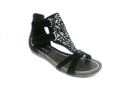 KCMODE Ladies Black Ankle Faux Suede Bead Fashion Sandals Size 8