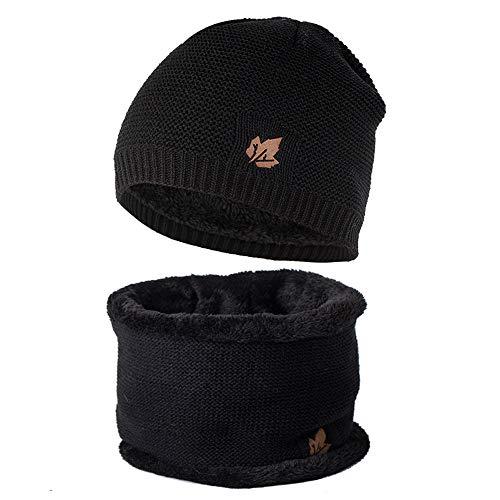 (Kaiki Sturmmaske Wintermütze Mütze Loop-Schal Anzug Für Männer Frauen Winter Hat Doppelte Schichten Strick Unisex Gehäkelt Strickmütze,Schwarz)