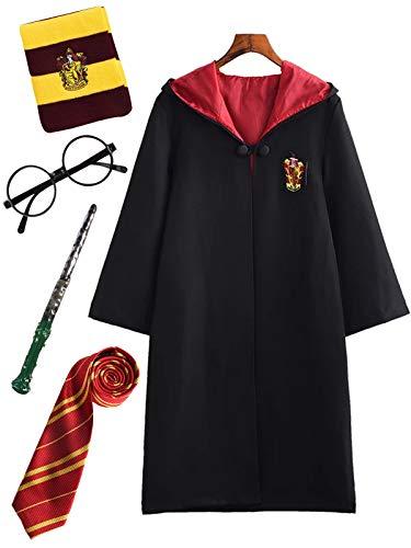 Erwachsene Cosplay Kostüm Harry Potter Kostüm Umhang Film Fanartikel Outfit Set Zauberstab Krawatte Schal Brille Karneval Verkleidung Fasching Halloween schwarz 115-185 Groß Größe ()