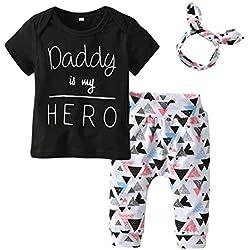 Yonimu 3pcs / Set Infantile Enfant garçon Fille Tenues vêtements Costume Papa est Mon héros T-Shirt Tops + Triangle Motif Pantalon + Bandeau (Color : Black, Size : 0-3M)