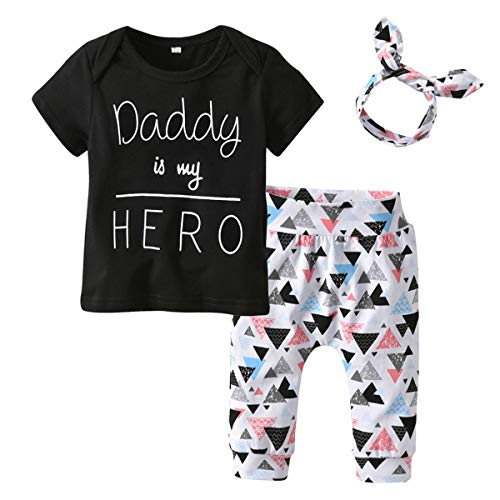 3pcs / Set Infant Kleinkind Junge Mädchen Outfits Kleidung Anzug Daddy is My HELD T-Shirt Tops + Dreieck Muster Pants + Stirnband (Color : Black, Size : 3-6M) -