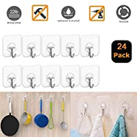 Sticky Hooks, 24 PCS Adhesive Hooks, Removable Wall Hooks, Newest Technology Strong Magic Hook, The Seamless Sticky Hook Suitable for Kitchen, Bathroom, Bedroom, Office