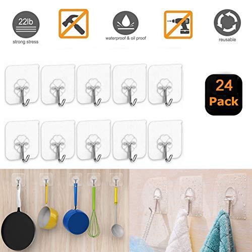 XUNKE 24 Stücke Klebehaken ohne Bohren, Haken selbstklebend, Transparenter Wandhaken, Türhaken Kleiderhaken Wasserfest Ideal für Küche Bad Wand & Decke Aufhänger, Max 8kg (24 PCS)