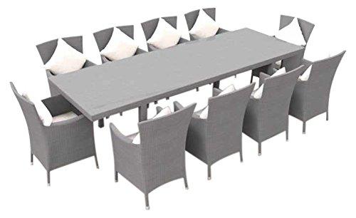 ARTELIA - Ceres XXL Polyrattan Essgruppe, Gartenmöbel-Set für Garten, Terrasse, Wintergarten und Balkon, Sitzgruppe grau