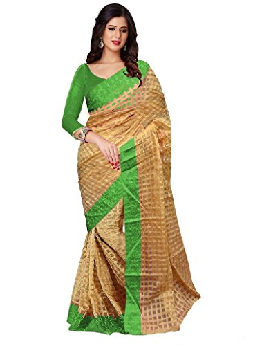Glory Sarees Women's Brasso Saree With Blouse Piece (Saree Brasso-Green, Beige And...