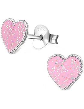 SL-Silver Ohrringe pinkes Herz mit Glitzereffekt 925 Silber in Geschenkbox