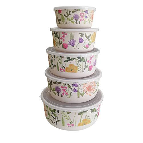 Set di contenitori contenitori per alimenti di bambù con coperchio, 5pezzi, ecologico, materiale ecologico senza bpa, ideale per bambino e per bambini fiori