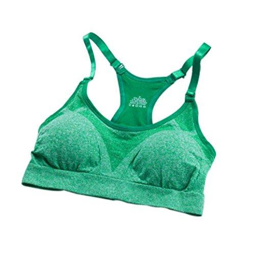 Demi-tangas (Amlaiworld mode Yoga sport bh damen Gym Fitness Sport BH Weich push up Unterwäsche für Mädchen (L, Grün))