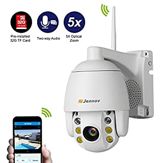 Jennov HD 1080P Wireless Security IP Camera PTZ Outdoor Wifi Dome Cameras 5X Optical Zoom Home CCTV Video Surveillance Two-Way Audio Night Vision Pre-installed 32G Micro-SD Card