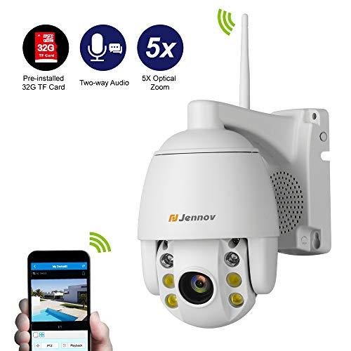 Jennov PTZ Caméra Surveillance WiFi, Caméra Dôme Extérieure sans Fil, HD 1080P Caméra de Sécirité, 360° avec 5X Zoom Optique, Audio et Vidéo, IP66 Imperméable, Vision Nocturne, 32G Carte SD fournie