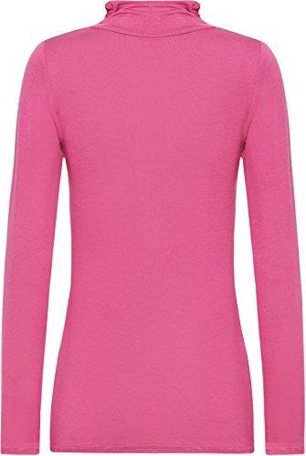 WearAll - Neu Damen Rollkragen Langarm Elastisch Schmucklos Top Pullover - 7 Farben - Größe 36 - 42 Cerise