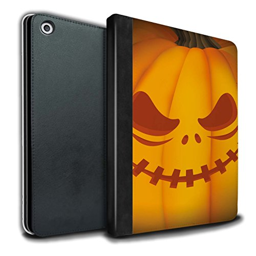 (Stuff4® PU-Leder Hülle/Case/Brieftasche für Apple iPad 9.7 (2017) Tablet/Unheimlich Muster/Halloween Kürbis Kollektion)