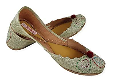 Fulkari Womens Genuine Soft Leather Gold Zarri Cut Work with Fumann Embroidered Comfortable Casual Jutis Ethnic Flat Shoes 35