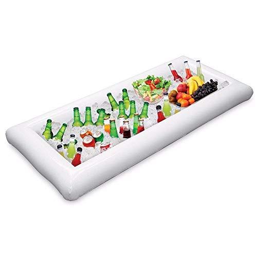 Bar Drain Tray (Zündliche Buffet Serving & Salad Bar Ice Buckets Food EIS Trocken Cooler Inflatable Beer Drink Tray, Food Drink Holder Grill Picnic Pool, mit Drain Plug (weiß))