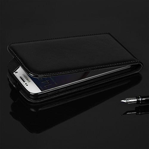 EGO® Flip Case (für iPhone 6 4,7'', Schwarz) Klapp Tasche Schutz Hülle weiche Etui Wallet mit Magnetverschluss Cover mit kleinen Taschen Schwarz