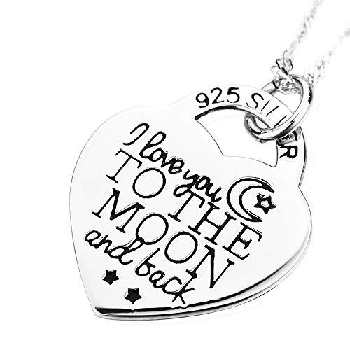 """Kette Herz Sterling Silber """" I love you to the moon and back """" Halskette Damen Anhänger Lange Halskette Silber zu Weihnachten Geschenk Valentinstag Jubiläum, Kette 17 Zoll"""