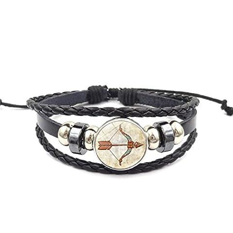 Axibi Créatif Rétro Femme Hommes 12 Constellations Bracelet en cuir perlé tissé Pendentif Bijoux Cadeaux (Sagittarius)