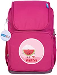 UniQBees Personalised School Bag With Name (Smart Kids Large School Backpack-Pink-Watermelon)