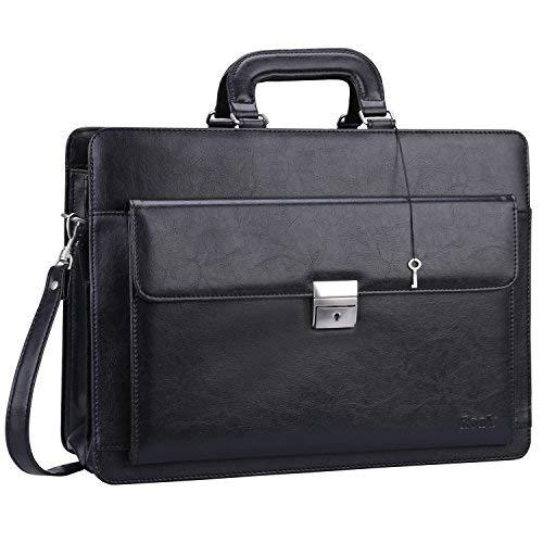 Ronts Herren-Aktentasche aus PU-Leder mit Schloss, 39,62 cm (15,6 Zoll) Laptop-Tasche schwarz schwarz 1 One_Size - Business Portfolio Briefcase