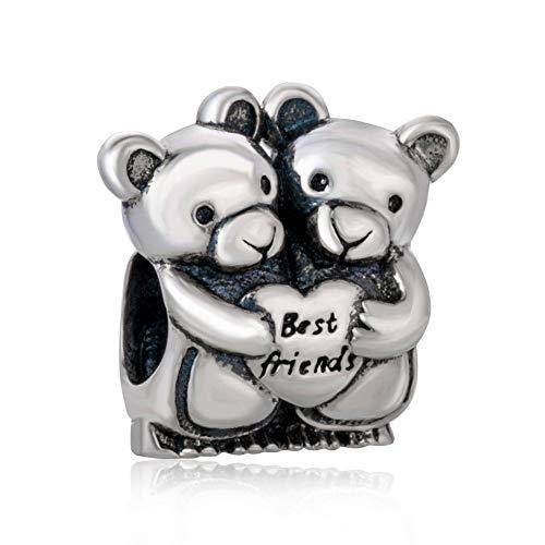 Soulbead bear hug charm a forma di cuore in argento sterling 925con perline per braccialetti regalo di san valentino best friend heart