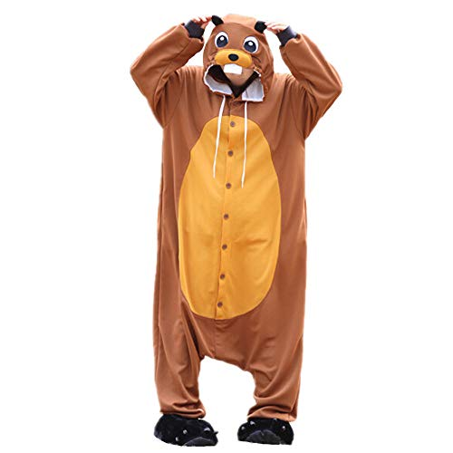 Biber Jungen Kostüm - dressfan Animal Jumpsuit Brown Beaver Erwachsene Pyjamas Unisex Polar Fleece Cosplay Kostüm