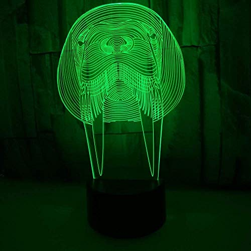 MGU Creative Led Sea Lion 3D Graphic Visual Night Light,7 Colors Usb Charge Lighting Bedroom Home Decoration for Kids Christmas Halloween Birthday Gift -
