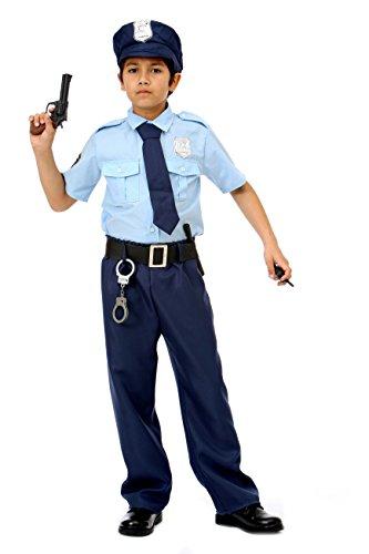 Polizei Kostüm für Kinder Deluxe - Polizei Uniform Kostüm für Kinder Jungen - Polizist Kostüm Kinder (110/120)