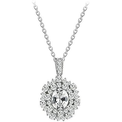 AienidD Cristales Regalos de Navidad-Collar Mujer Joven Garras del Rhinestone Redonda Oval de Flor CZ Collares Dijes para las