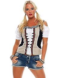 Fashion4Young Dirndlbluse Bluse Trachtenbluse Trachten Oktoberfest Lederhose Trachtenmieder