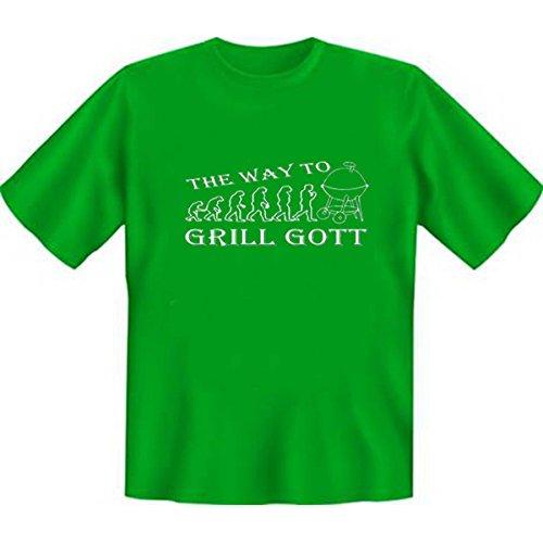 DAS Shirt für BBQ-Fans und Grillprofis: The way to Grill Gott T-Shirt, Farbe hellgrün, Hellgrün