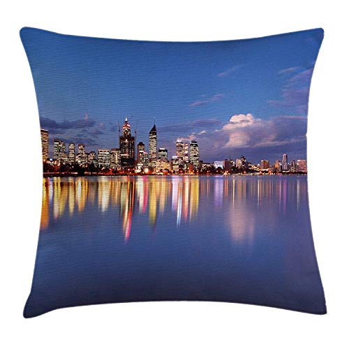 (Modern Throw Pillow Cushion Cover, Skyline of Perth Western Australia at Night Dramatic Urban Swan River Scenery, Decorative Square Accent Pillow Case, 18 X 18 inches, Violet Blue Amber)