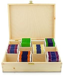 Boîte à thé avec couvercle en bois avec 12compartiments–Pin Naturel Non Traité–env. 29x 22x 8cm–VENKON®