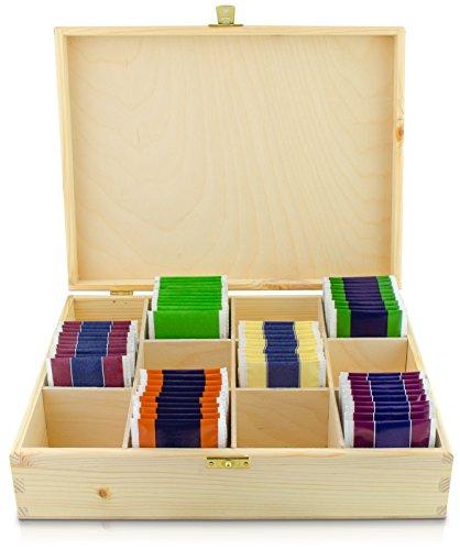 Teebox mit Deckel aus Holz mit 12 Fächern - Kiefer Naturbelassen Unbehandelt - ca. 29 x 22 x 8 cm - Grinscard