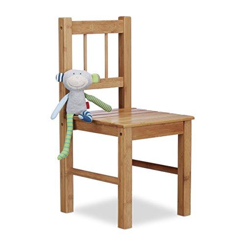 Relaxdays Deko Stuhl Bambus, HxBxT: 57 x 27 x 29 cm Kleiner Stuhl für Blumen, Holzstuhl, Kinderstuhl, Bambusstuhl, natur