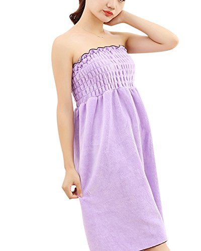 Women Super Water Absorbent Soft Fluffy Strapless Cover up Bath Spa Tube Dress Bathrobe Bathing Towel Dressing Gown Housecoat