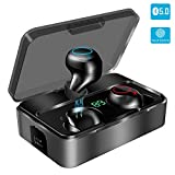 Auriculares Inalámbricos Bluetooth 5.0, YONMIG Auriculares Bluetooth Deportivos con 3000 mAh y Micrófono Integrado, Mini Twins Estéreo In-Ear Mono Headset para iPhone y Android