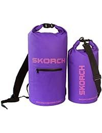 Skorch - Conjunto de mochila impermeable de 20 L y bolsa seca de 10 L - Color morado con marca en color rosa - Esquí, rugby, excursionismo, triatlón, natación, senderismo