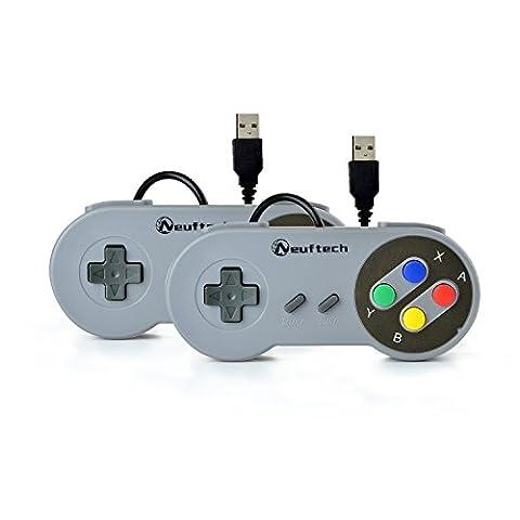 Neuftech 2X USB Manette Super Nintendo SNES Gamepad Controller pour PC MAC Windows