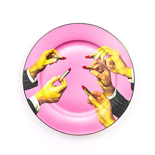 Seletti Toiletpaper Assiette plate en porcellaine avec décor rouges à lèvres et bord doré