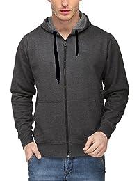 Scott International Men's Premium Cotton Blend Pullover Hoodie Sweatshirt With Zip - Charcoal